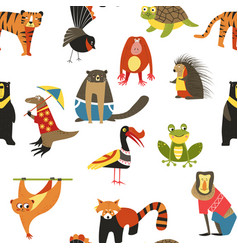 Exotic animals variety seamless pattern lemur and vector
