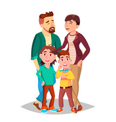 family mom dad children together in vector image