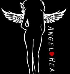 Female silhouette as angel vector
