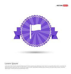 Flag icon - purple ribbon banner vector