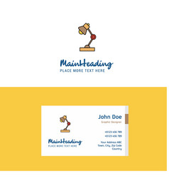 flat lamp logo and visiting card template vector image
