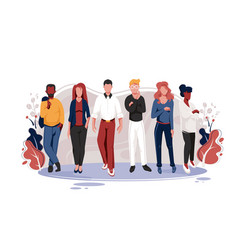 flat team with men and women with glasses red vector image