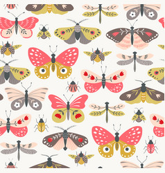 folk flower insect surface pattern vector image