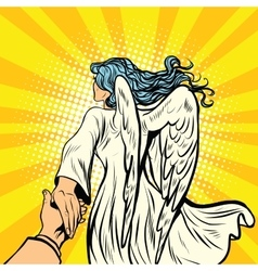 Follow me woman angel with wings vector