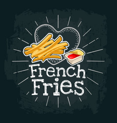 French fry stick potato flat vector