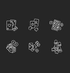 Gambling and intellectual games chalk white icons vector
