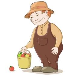 Gardener with apples vector