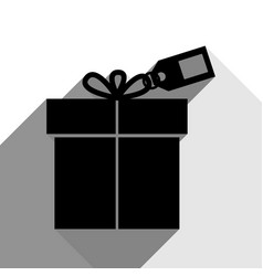 gift sign with tag black icon with two vector image