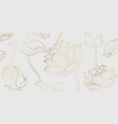 gold lotus line pattern golden lotus flower vector image