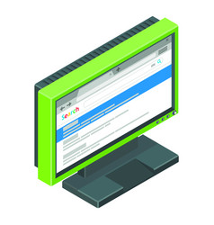 Green gamer monitor with search results on it vector