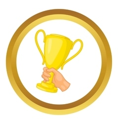 Hand holding gold trophy cup icon vector image