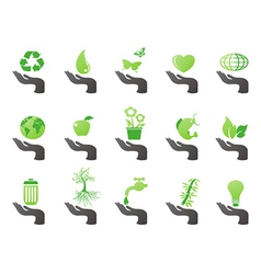 hand with green eco icons vector image