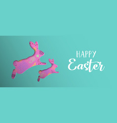 Happy easter spring banner with paper art rabbit vector
