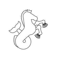 Hippocampus heraldic animal linear style sea vector