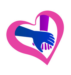 Holding hands heart shape valentines symbol icon vector