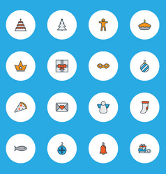 holiday icons colored line set with gift ginger vector image