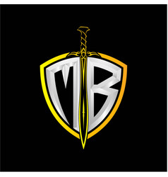 Initials m b is a shield decorated vector
