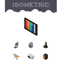 Isometric electronics set of television cloth vector