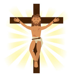 Jesus christ crucified religious symbol vector
