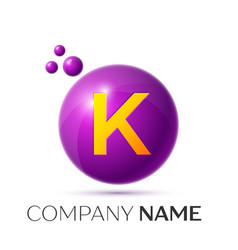 K letter splash purple dots and circle bubble vector