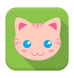 Kitty flat app icon with long shadow vector image