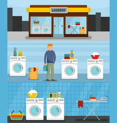 Laundry service banner concept set flat style vector