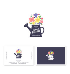 logo flower shop watering can and flowers emblem vector image