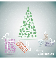 Merry Christmas tree with gifts in snow eps10 vector image