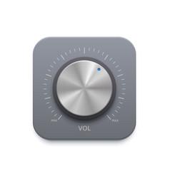 Metallic music sound knob button icon vector