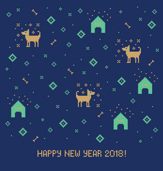 new year 2018 cross stitch greeting card with dog vector image