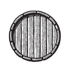 old wooden barrel in engraving style top view of vector image