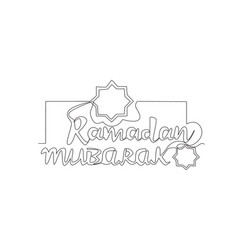One continuous line drawing happy eid al fitr vector