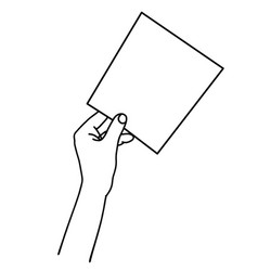 one hand holding empty paper sheet linear hand vector image