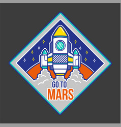 Patch with spaceship for print vector