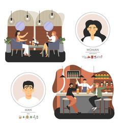 people talking drinking wine beer in cafe pub vector image