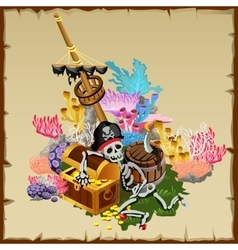 Pirate treasure fragment ship and skeleton guard vector