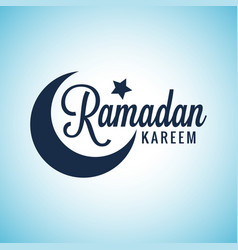 Ramadan kareem moon lettering eid mubarak sign on vector