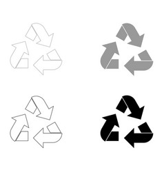 Recycling arrows in a circle the black and grey vector