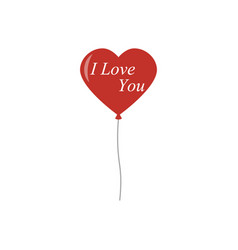 Red balloons in isolated white background heart vector
