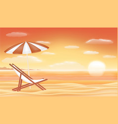 relax beach chair umbrella with sunset sea beach vector image