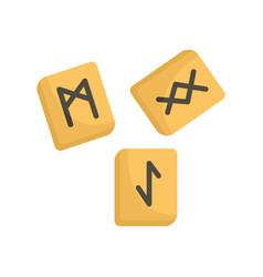 Runes cube icon flat style vector