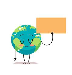 Sad earth character holding blank banner cartoon vector
