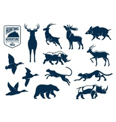 Savanna and forest animals for hunting icons vector