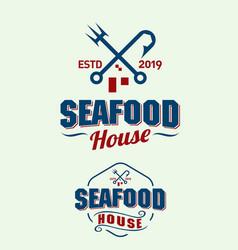 seafood house emblem symbol in vintage style vector image
