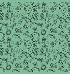 Seamless pattern 4 of childrens contour drawings vector