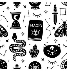 Seamless pattern with black magical elements vector
