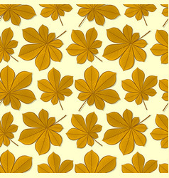 seamless pattern with chestnut autumn leaves vector image