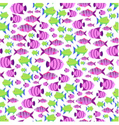 Seamless pattern with cute cartoon fish in vector