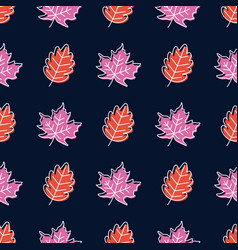seamless pattern with doodle leaves modern autumn vector image