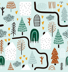 Seamless pattern with trees houses forest vector